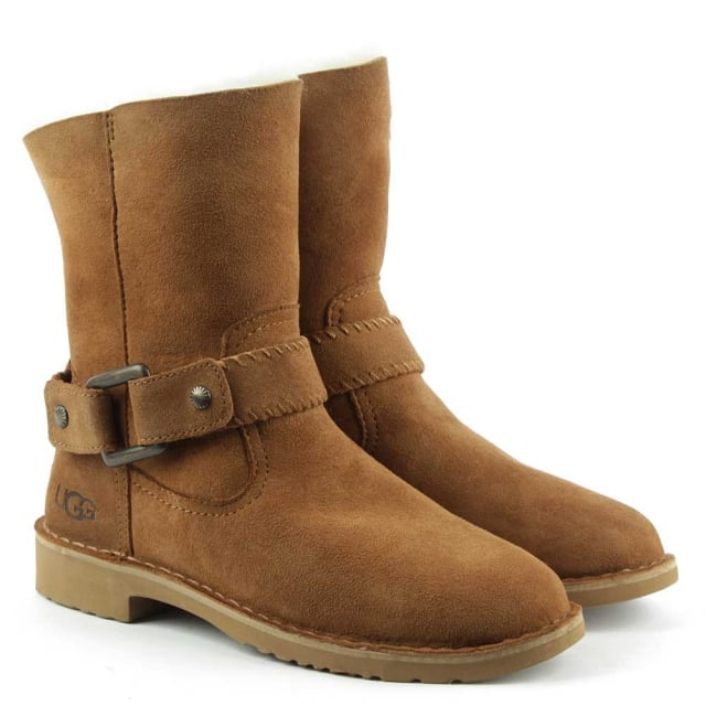 UGG Cedric Chesnut Leather Twinface Cuffed Ankle Boot