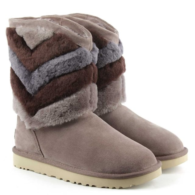 UGG Tania Stormy Grey Suede Chevron Twinface Boot