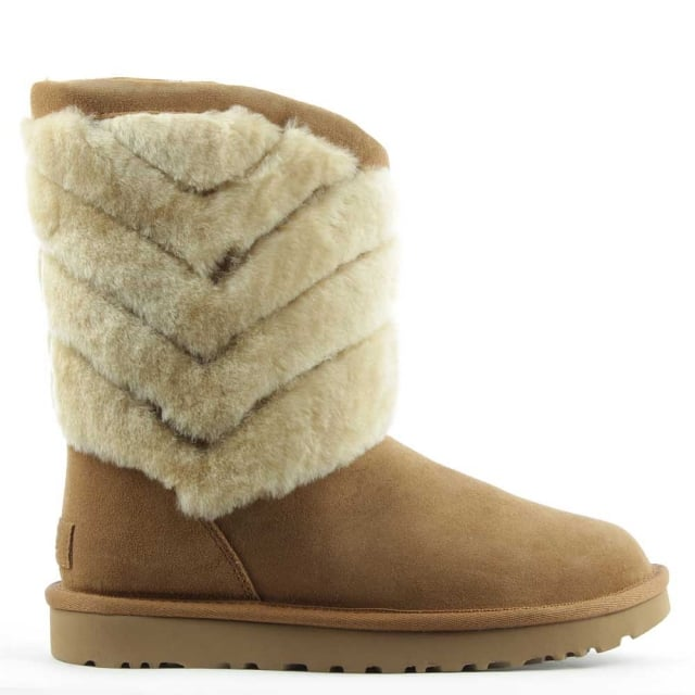 UGG Tania Chestnut Suede Chevron Twinface Boot