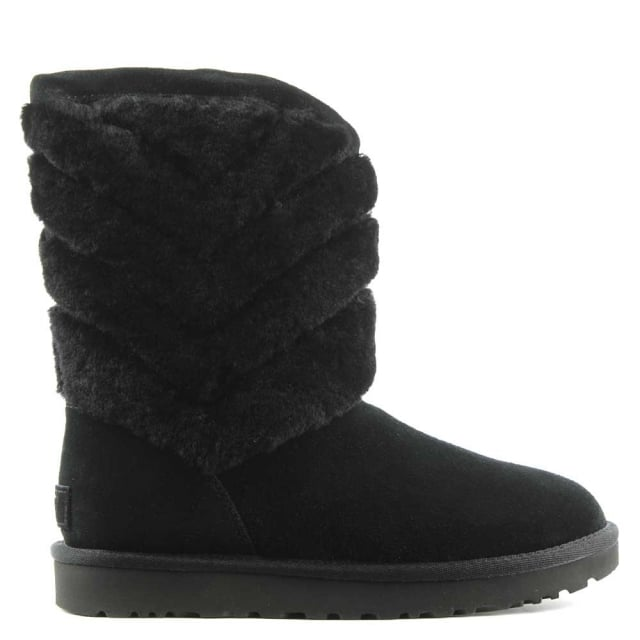 UGG Tania Black Suede Chevron Twinface Boot