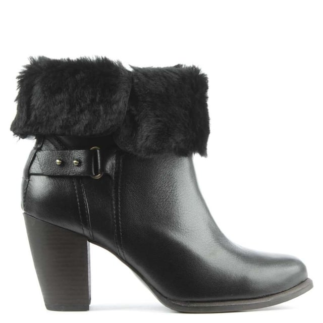 UGG Jayne Black Leather Stacked Heel Ankle Boot