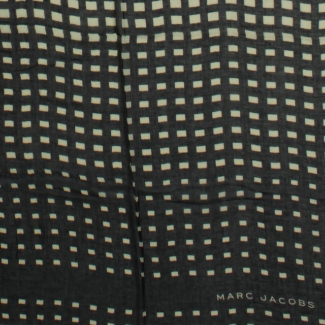 Marc Jacobs Degrade Check Navy Wool Oblong Scarf