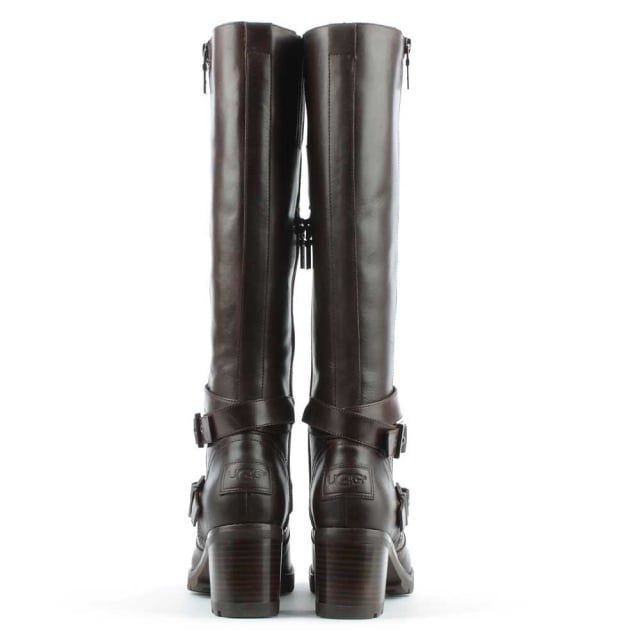 UGG Lana Stout Leather Zip & Strap Knee Boot