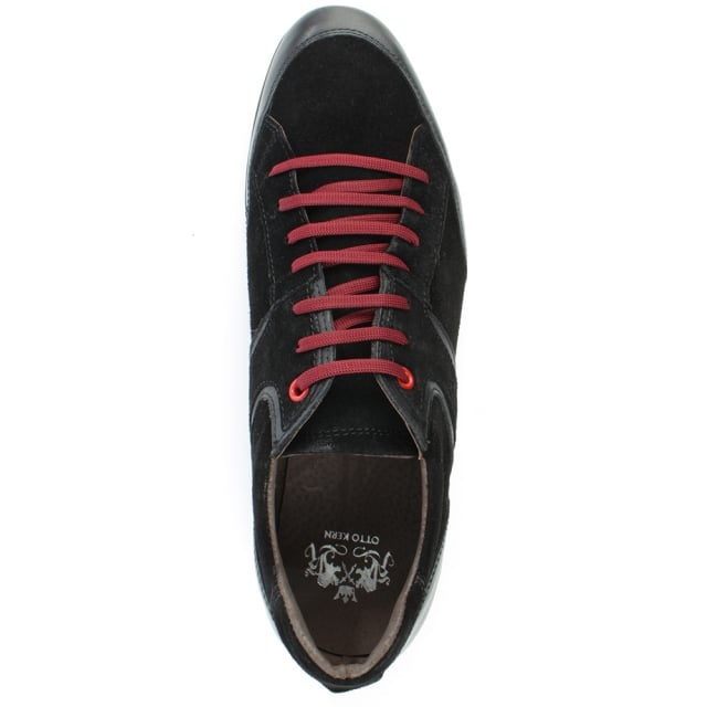 Otto Kern Black Suede Sporty Lace Up Shoe