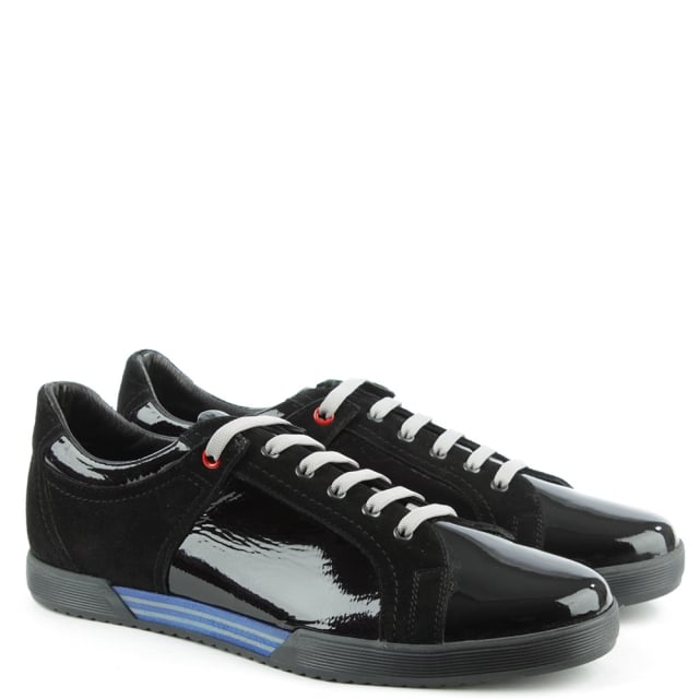 Enzo Feldini Black Patent & Suede Sporty Lace Up Trainer