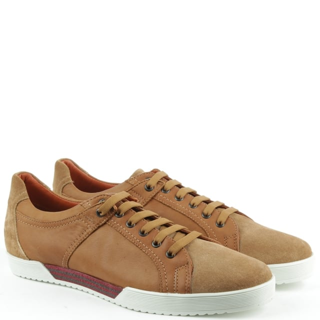 Roberto Santi Tan Leather Suede Toe Lace Up Trainer