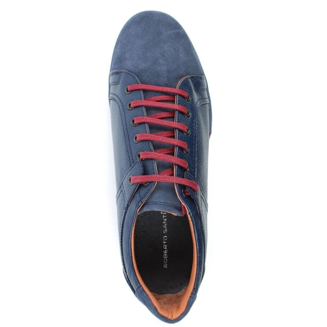 Roberto Santi Navy Leather Suede Toe Lace Up Trainer