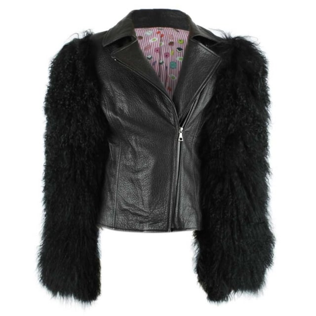 Charlotte Simone Black Leather Shearling Sleeved Biker Bomber Jacket