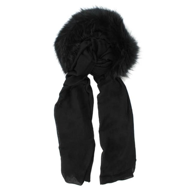 Charlotte Simone Fur Trim Black Wool Hooded Scarf