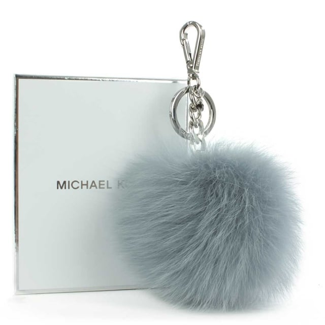 Michael Kors XXL Dusty Blue Fur Pom Pom Keyring