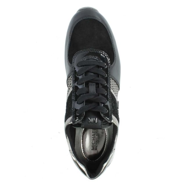 Michael Kors Allie Black Suede & Leather Metallic Sporty Trainer