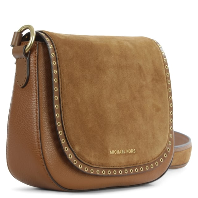 Michael Kors Brooklyn Luggage Leather & Suede Saddle Bag
