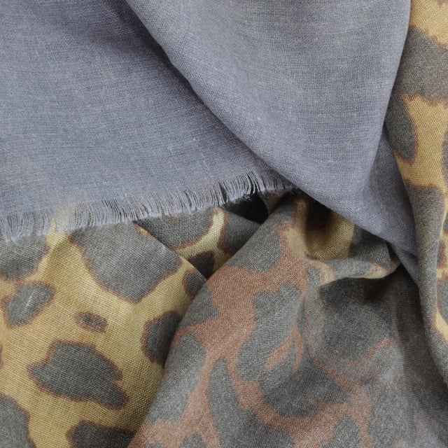 Daniel Blue Leopard Print Cotton Mix Scarf