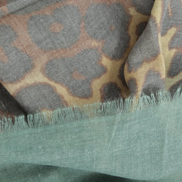 Daniel Green Leopard Print Cotton Mix Scarf