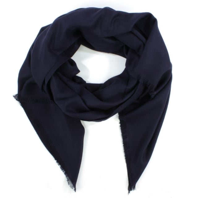 Daniel Luxe Silk Mix Navy Scarf
