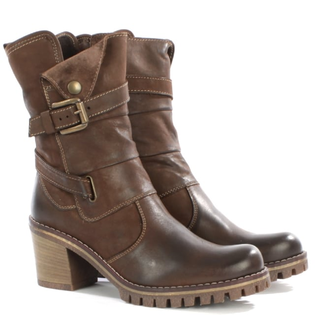 Daniel Mag Tan Leather Buckle Block Heel Calf Boot