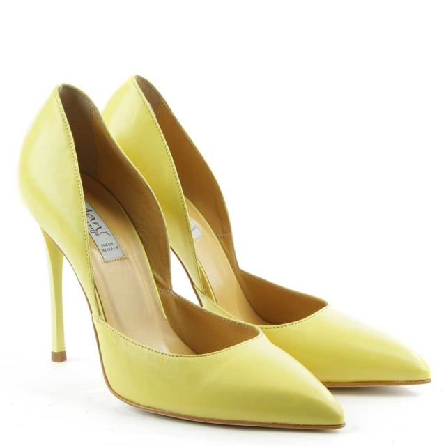 Yellow Leather Pointed Court Shoe