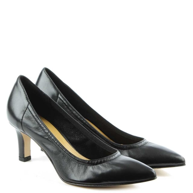 Black Leather Low Heeled Court Shoe