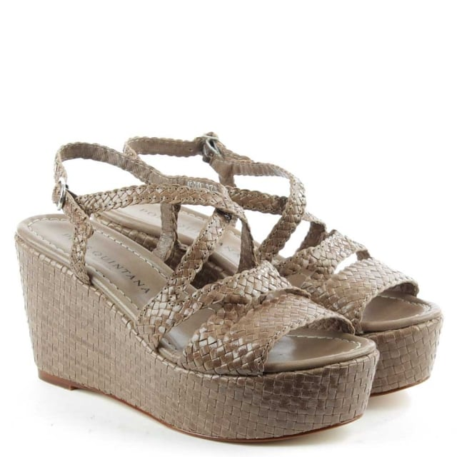 Pons 5P Taupe Leather Woven Flatform Sandal