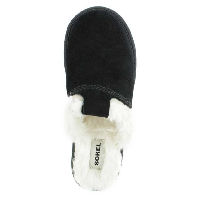 Sorel Newbie Black Suede Fleece Lined Slipper
