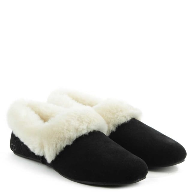 UGG Kendyl Black Suede Sheepskin Slipper