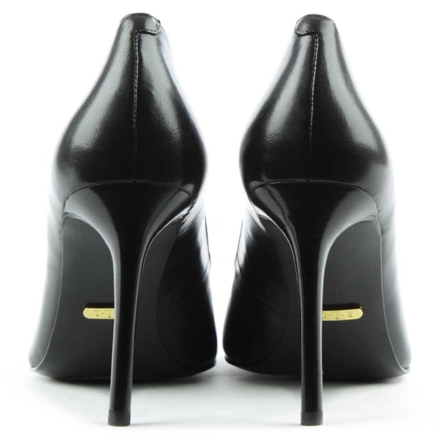 Lauren by Ralph Lauren Raimy Black Leather Studded Court Shoe