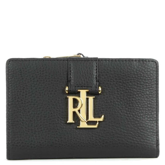 Lauren by Ralph Lauren Carrington New Compact Black Leather Wallet