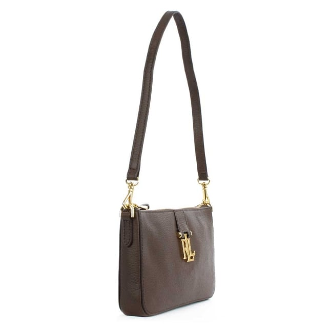 Lauren by Ralph Lauren Carrington Brushed Brown Leather Mini Shoulder Bag