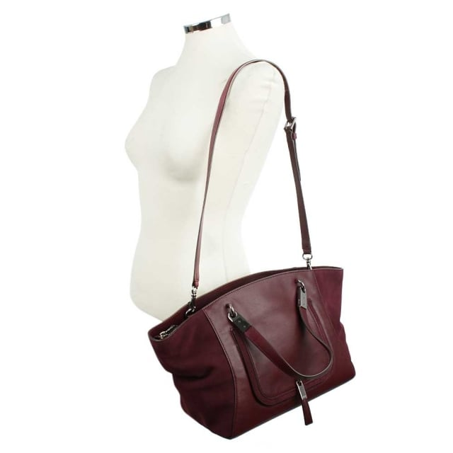 Lauren by Ralph Lauren Berwick Marley Claret Leather Satchel Bag
