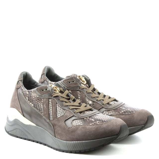 Cesare Paciotti Sporty Taupe Suede & Reptile Lace Up Trainer