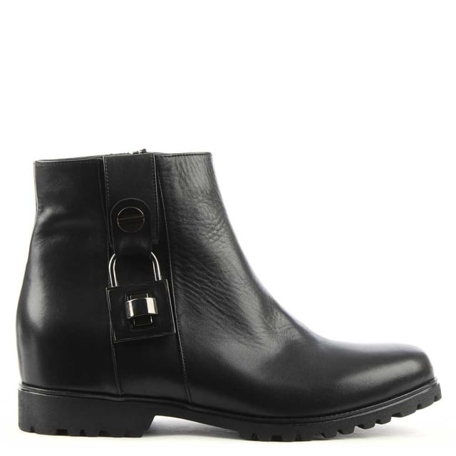 Albano Brecken Black Leather Padlock Ankle Boot