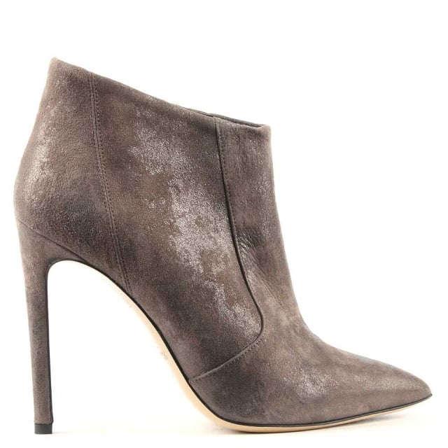 Greymouth Taupe Suede Metallic Pointed Toe Ankle Boot