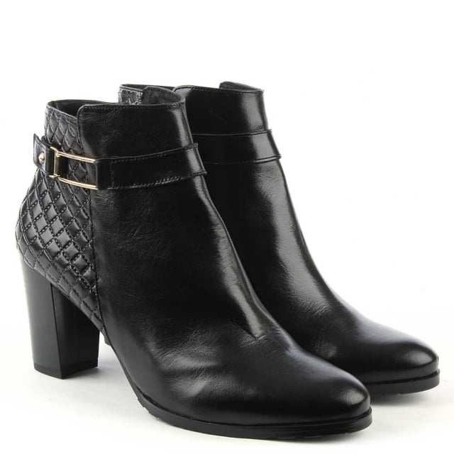 Chiba Black Leather Quilted Ankle Boot