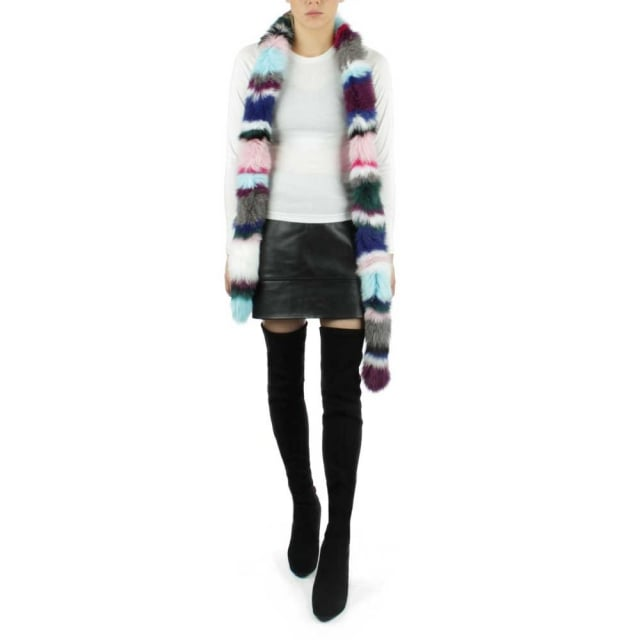 Charlotte Simone Multicoloured Twist Fur Scarf