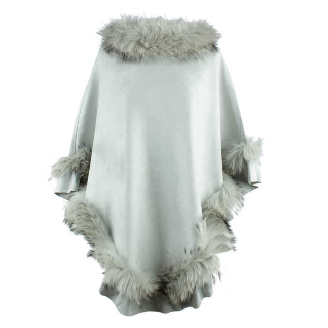 JayLey Kim Light Grey Fur Trim Poncho