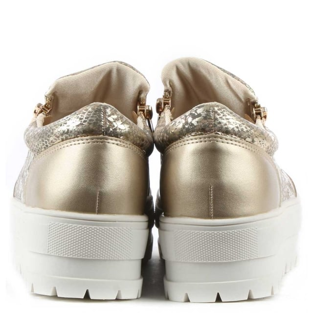 DF By Daniel Canterville Gold Metallic Chunky Flatform Pump