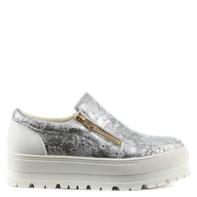DF By Daniel Canterville Silver Metallic Chunky Flatform Pump