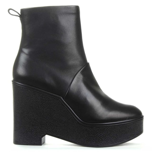 Robert Clergerie Bisout Black Leather Block Heel Ankle Boot