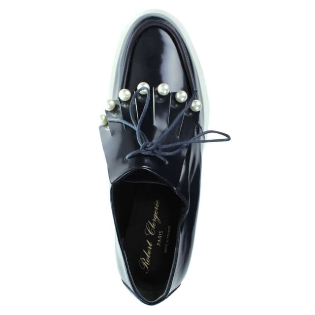 Robert Clergerie Robiro Navy Patent Fringe Loafer