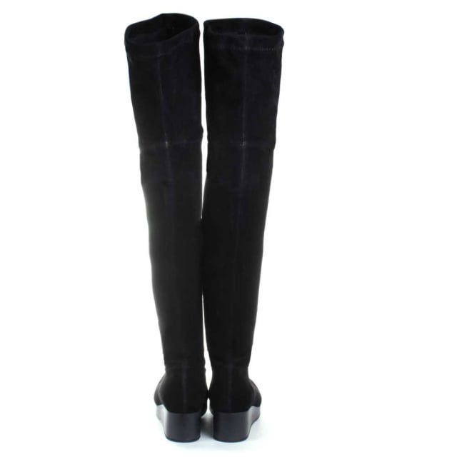 Robert Clergerie Natul Black Stretch Over The Knee Wedge Boot