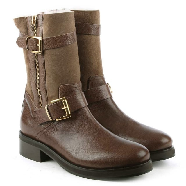 Daniel Nadeen Taupe Leather Buckled Calf Boot