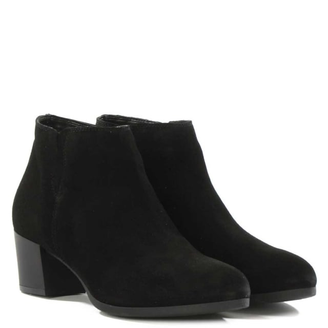 DF By Daniel Amaryllis Black Suede Low Heel Ankle Boot