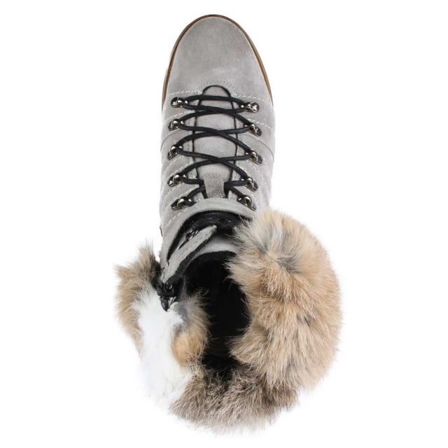 Manas Grey Suede Fur Trim Walking Boot