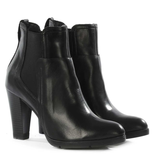 DF By Daniel Wandflower Black Leather Almond Toe Chelsea Boot