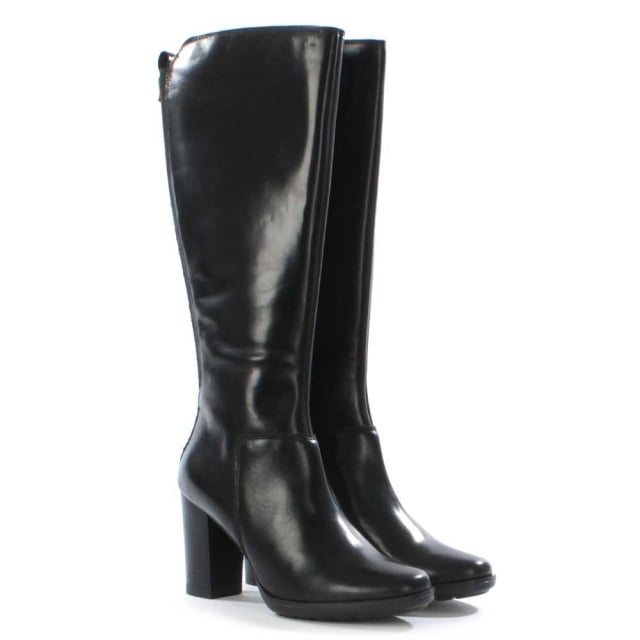 DF By Daniel Trillium Black Leather Knee Boot