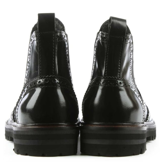 Daniel Mowatt Black Leather Brogue Chelsea Boot