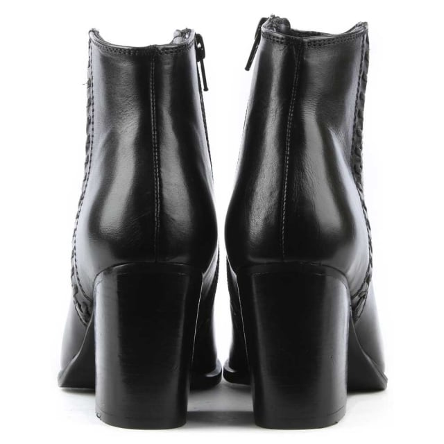 Daniel Victorina Black Leather Pointed Toe Ankle Boot
