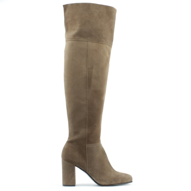 Kennel & Schmenger Square Toe Taupe Suede Block Heel Over The Knee Boot