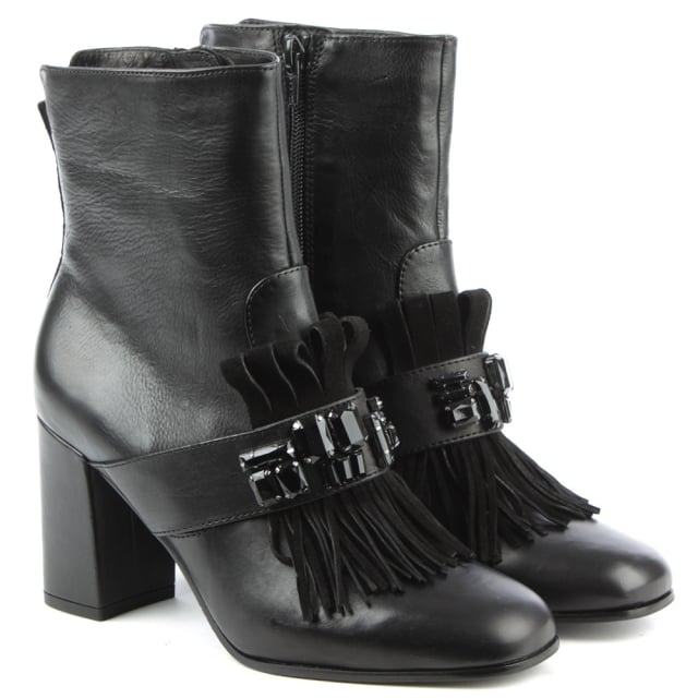 Kennel & Schmenger Fringe Black Leather Jewelled Tassel Ankle Boot