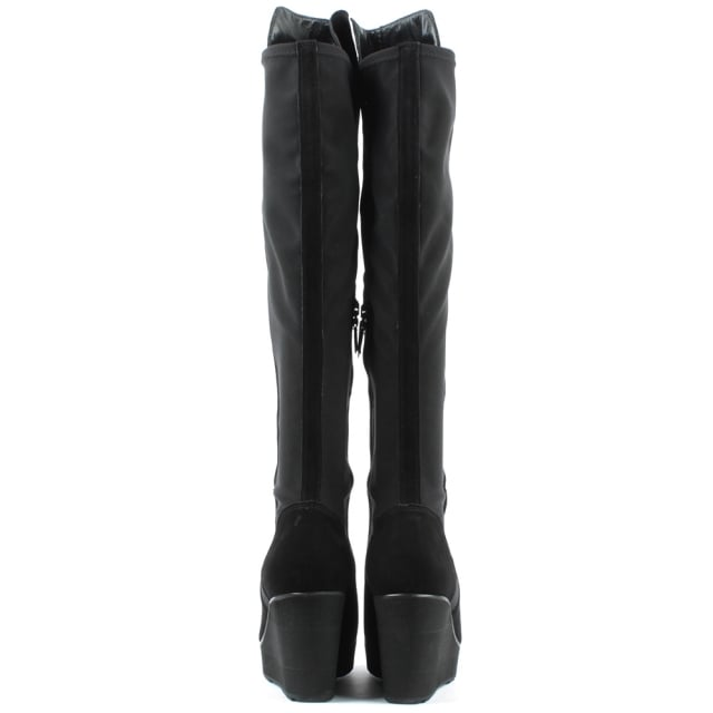 Kennel & Schmenger Stretch Black Suede Stretch Back Wedge Knee Boot